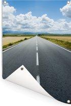Lege snelweg in het Europese Spanje Tuinposter 60x90 cm - Tuindoek / Buitencanvas / Schilderijen voor buiten (tuin decoratie)