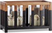 relaxdays windlicht teakhout - kaarshouder - kooi design - zwart-bruin - 22 cm hoog L