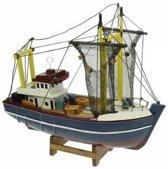 Miniatuur vissersboot gele masten 24 cm