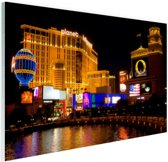 Fraai verlichte gebouwen Las Vegas Glas 60x40 cm - Foto print op Glas (Plexiglas wanddecoratie)