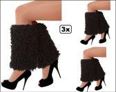 3x Paar Beenwarmers pluche curly zwart