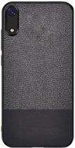 Shop4 - Samsung Galaxy A70 Hoesje - Harde Back Case Denim en Leer Donker Grijs