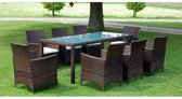 Tuinset poly rattan bruin 17-delig