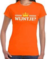 Oranje Wijntje en kroon shirt dames S