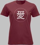 T-shirt V Chinese teken voor liefde in wit - Rood - V - XL Sportshirt