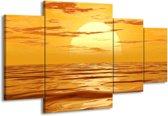 Canvas schilderij Zonsondergang | Geel, Oranje, Bruin | 160x90cm 4Luik