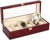 Horlogedoos - Luxe Houten Horloge Box - Geschikt voor Horloges en Sieraden - 6 Compartimenten met 6 Kussentjes - Hout