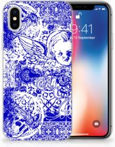 iPhone X   Xs TPU Hoesje Angel Skull Blue