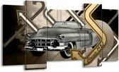 Schilderij | Canvas Schilderij Oldtimer, Auto | Grijs, Goud | 120x65cm 5Luik | Foto print op Canvas
