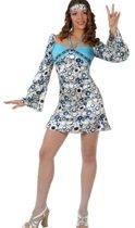 Blauw hippie jurkje met wijde mouwen 38 (m)