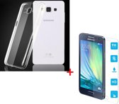Ultra Dunne TPU silicone case hoesje Met Gratis Tempered glass Screen Protector Samsung Galaxy A3 2015