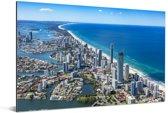 De Gold Coast van bovenaf in Australië Aluminium 180x120 cm - Foto print op Aluminium (metaal wanddecoratie) XXL / Groot formaat!