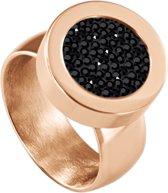 Quiges RVS Schroefsysteem Ring Rosékleurig Glans 18mm met Verwisselbare Zirkonia Zwart 12mm Mini Munt