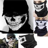 Zwarte biker sjaal doodshoofd masker