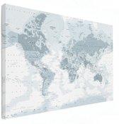 Wereldkaart op Canvas - Grijs - groot 120x80 cm | Wereldkaart Canvas Schilderij