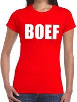 Boef tekst t-shirt rood dames - dames shirt Boef L