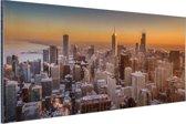 Chicago bij nacht Aluminium 90x60 cm - Foto print op Aluminium (metaal wanddecoratie)