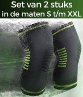 Compressie Kniebrace –2 stuks – Maat M - Kniebandage - Knie Bescherming - Elastisch - Zwart / Groen