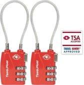 TravelMore TSA Kofferslot - Reisslot - Cijferslot - Bagageslot - Hangslot - Rood - 2 stuks