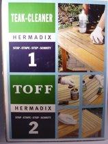HERMADIX Teak- en hardhout reiniger en onderhoud, Incl. spons / kwast / handschoenen