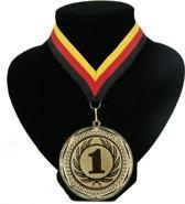 Kampioensmedaille nr. 1 aan rood geel zwart lint