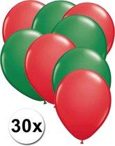 Ballonnen Rood & Groen 30 stuks 27 cm