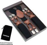 Luxe chique bretels - Zwart effen dessin - Sorprese - 6 stevige clips - midden bruin leer - heren - unisex