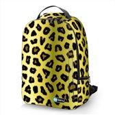Laptop rugzak 17,3 Deluxe panterprint geel - Sleevy - schooltas