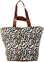 Mycha Ibiza – leopard tas - shopper - Strandtas - tas met rits -naturel beige – 100% katoen