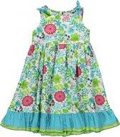 Blue Seven meisjeskleding - Witte jurk met bloemenprint - Maat 92