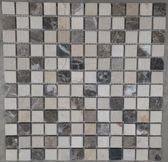 Mozaiek tegel marmer bruin / beige mix 528M