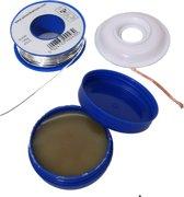 Soldeerpasta soldeervet 20gr, litze desoldeerlint 1,5m 2mm, Soldeertin Soldeerdraad 100gr Soldeer set