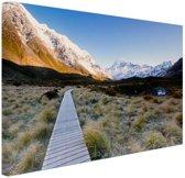 Pad naar de bergen Canvas 80x60 cm - Foto print op Canvas schilderij (Wanddecoratie woonkamer / slaapkamer)