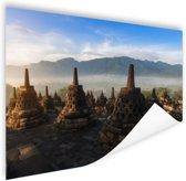 Zonsopkomst Borobodur Yogyakarta Poster 90x60 cm - Foto print op Poster (wanddecoratie woonkamer / slaapkamer)