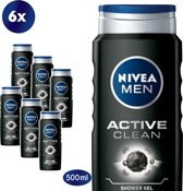 NIVEA MEN Active Clean Douchegel - 6 x 500 ml - Voordeelverpakking