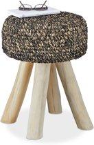 relaxdays kruk teakhout - gepolsterd krukje - design zetel - voetenbank - 120kg belastbaar B