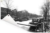 De bevroren Prinsengracht in de winter Tuinposter 90x60 cm - Tuindoek / Buitencanvas / Schilderijen voor buiten (tuin decoratie)