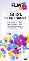 FLWR - Inkcartridge / 364XL 4-pack / Zwart & Kleur - Geschikt voor HP