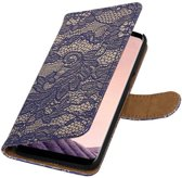Lace bookstyle / book case/ wallet case Hoesje voor Samsung Galaxy S8 Blauw
