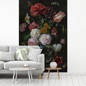 Fotobehang vinyl - Stilleven met bloemen in een glazen vaas - Schilderij van Jan Davidsz de Heem breedte 155 cm x hoogte 240 cm - Foto print op behang (in 7 formaten beschikbaar)