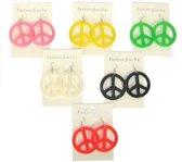 Gekleurde peace oorbellen  geel