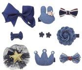 Haarspeldjes meisje - set blauw- speldjes en haarschuifjes - geschenkset- 10 stuks