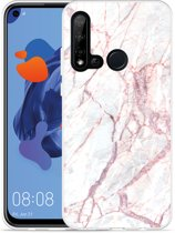 P20 Lite 2019 Hoesje White Pink Marble