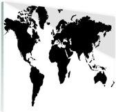 Wereldkaart zwart-wit Glas 120x80 cm - Foto print op Glas (Plexiglas wanddecoratie)