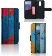 LG Q7 Book Style Case Wood Heart
