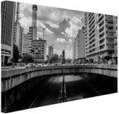 Sao Paulo zwart-wit Canvas 60x40 cm - Foto print op Canvas schilderij (Wanddecoratie)