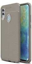 Teleplus Samsung Galaxy M20 Leather Textured Silicone Case Gray + Full Closure Glass hoesje