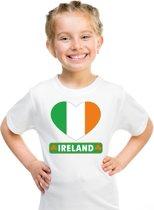 Ierland kinder t-shirt met Ierse vlag in hart wit jongens en meisjes XS (110-116)