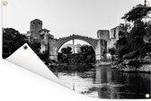 Zwart wit foto van de schitterende Stari Most brug Tuinposter 180x120 cm - Tuindoek / Buitencanvas / Schilderijen voor buiten (tuin decoratie) XXL / Groot formaat!