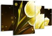 Canvas schilderij Tulp | Geel, Bruin | 160x90cm 4Luik